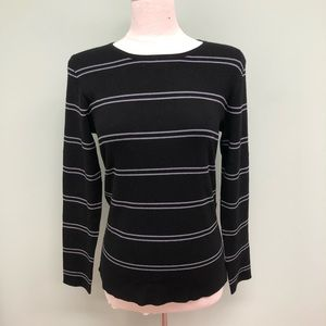 Kirkland Striped Crewneck Sweater: Black (PM554)